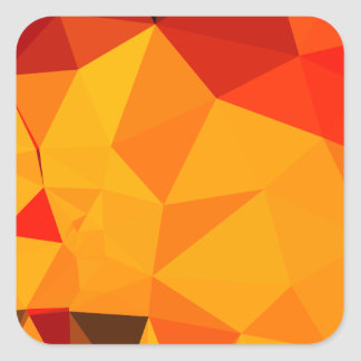 Cadmium Yellow Abstract Low Polygon Background Square Sticker