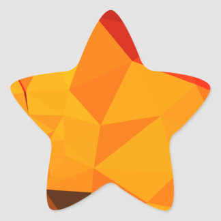 Cadmium Yellow Abstract Low Polygon Background Star Sticker