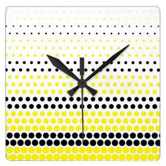 Cadmium Yellow and Black Polka Dot Wallclocks