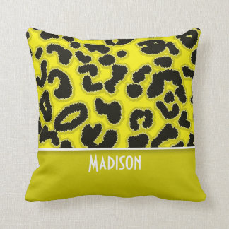 Cadmium Yellow Leopard Animal Print; Personalized Throw Pillow
