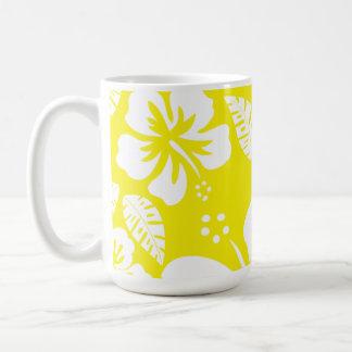 Cadmium Yellow Tropical Hibiscus Classic White Coffee Mug