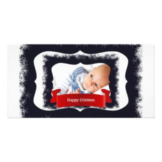 Cadre bleu de photo de bébé de flocon de neige photocarte