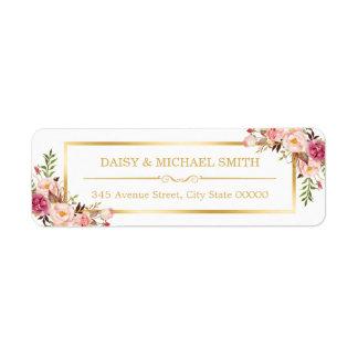 Cadre chic blanc d'or de fleurs en pastel chiques étiquette d'adresse retour