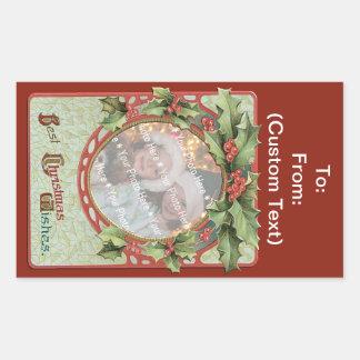 Cadre de Noël d'Ajouter-UN-Photo de guirlande Stickers En Rectangle