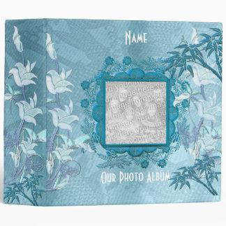 Cadre floral blanc bleu asiatique 2 d'album photos