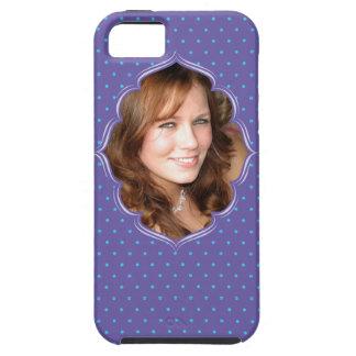 Cadre pourpre de photo de polkadot coques iPhone 5 Case-Mate