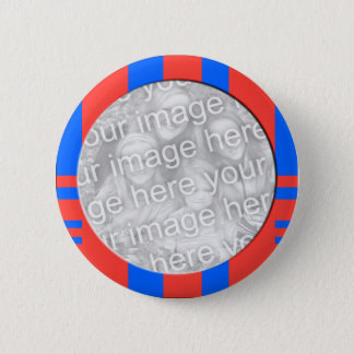 cadre rayé bleu et rouge de photo macaron rond 5 cm