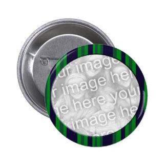 Cadre rayé bleu et vert de photo macaron rond 5 cm