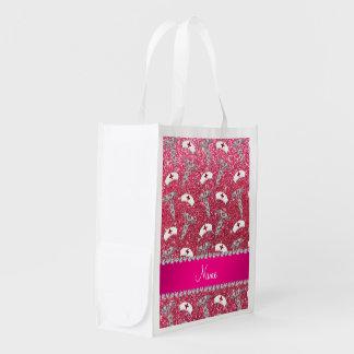 Caducée argenté de scintillement de chapeaux roses sacs d'épicerie