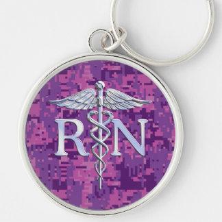 Caducée de RN d'infirmier autorisé sur Camo rose Porte-clé Rond Argenté