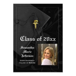 Caducée noir médical ou obtention du diplôme de carton d'invitation  11,43 cm x 15,87 cm