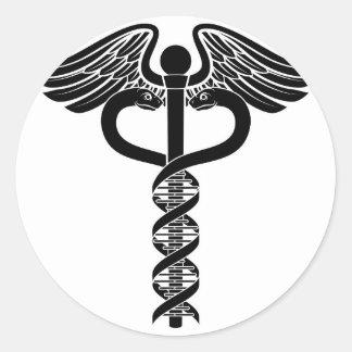Caduceus DNA Double Helix Concept Round Sticker