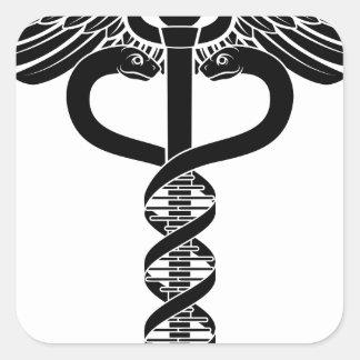 Caduceus DNA Double Helix Concept Square Sticker