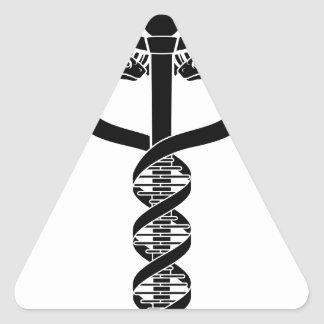 Caduceus DNA Double Helix Concept Triangle Sticker