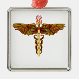 Caduceus Flame Style-1 Silver-Colored Square Ornament