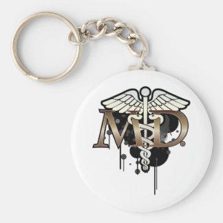 Caduceus grunge with M.D. Keychain
