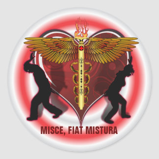 Caduceus Heart V-1, Misce, fiat mistura Classic Round Sticker