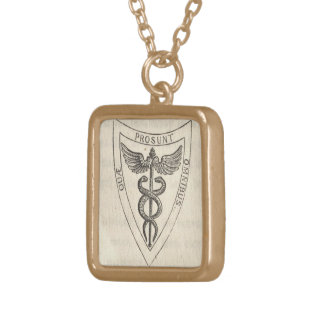 Caduceus in Shield Gold Plated Necklace