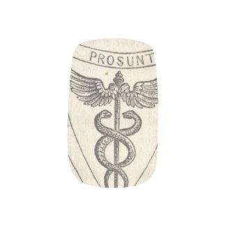 Caduceus in Shield Minx Nail Art