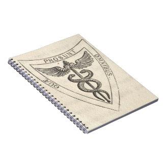 Caduceus in Shield Spiral Notebook
