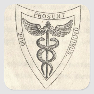 Caduceus in Shield Square Sticker