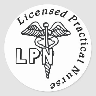 CADUCEUS LPN LOGO LICENSED PRACTICAL NURSE CLASSIC ROUND STICKER