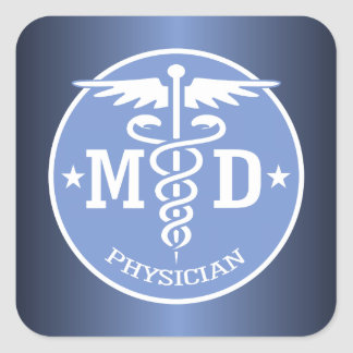 Caduceus MD 3 (blue) Square Sticker