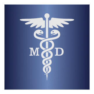 Caduceus MD (blue) Poster