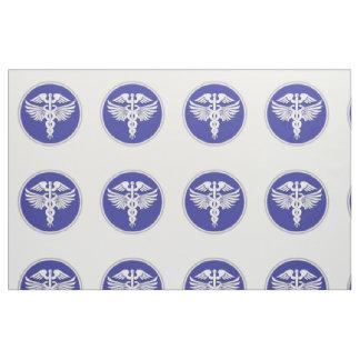 Caduceus medical sign blue white fabric
