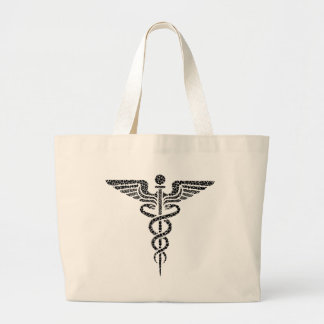 Caduceus -Medical symbol- made of circle cells Large Tote Bag