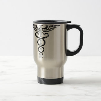 Caduceus -Medical symbol- made of circle cells Travel Mug