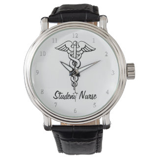 Caduceus Medical Symbol Nursing Student B&W Watch
