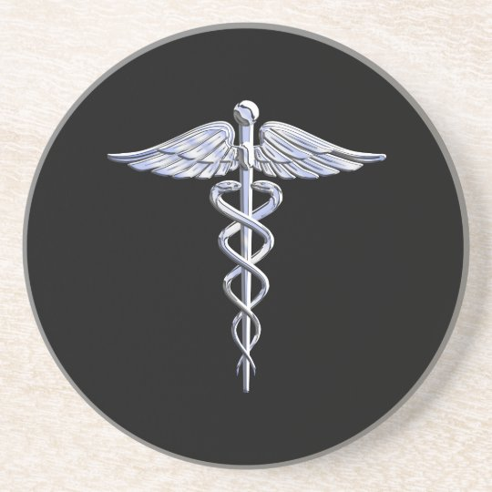 Caduceus Medical Symbol on Black Coaster