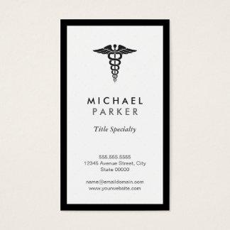 Caduceus Medical Symbol - Retro Black and White Business Card