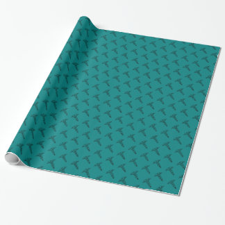 Caduceus Medical Symbol | Teal RN Nurse Graduation Wrapping Paper