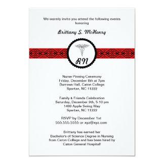 Caduceus Nurse Graduation Invite Black & Red RN