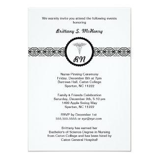 Caduceus Nurse Graduation Invite Black & White RN