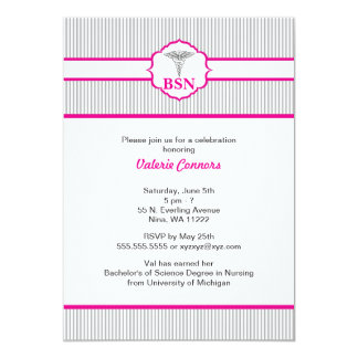 "Caduceus RN BSN LPN Graduation Hot Pink Gray 5"" X 7"" Invitation Card"