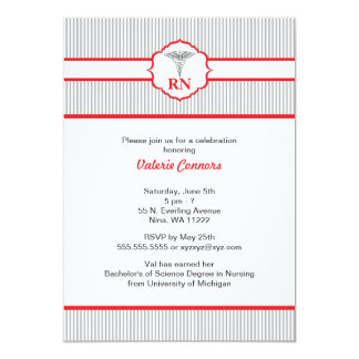 "Caduceus RN BSN LPN Graduation Red and Gray 5"" X 7"" Invitation Card"