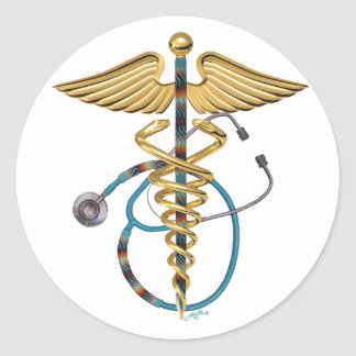 Caduceus & Stethoscope Round Sticker