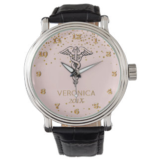 Caduceus Symbol Blush Gold | Nurses Nursing RN Watches