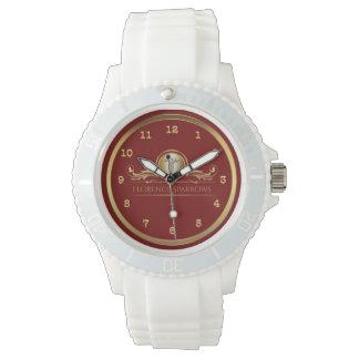Caduceus Symbol | Chic Red Gold RN Nurses Nursing Wristwatches