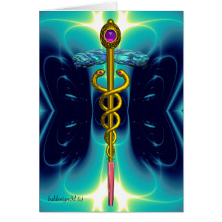 CADUCEUS, vibrant gold amethyst Blue Turquase Card