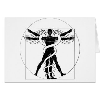 Caduceus Vitruvian Man Card