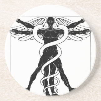 Caduceus Vitruvian Man Coaster