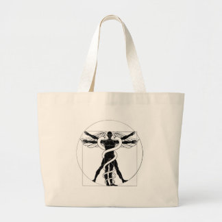 Caduceus Vitruvian Man Large Tote Bag