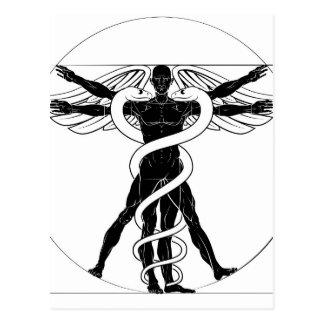 Caduceus Vitruvian Man Postcard