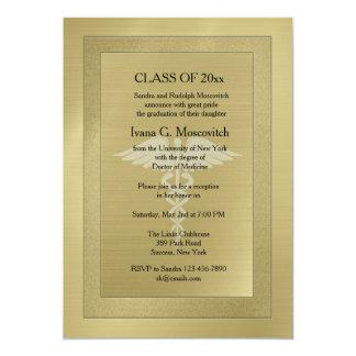Caduceus Watermark Gold Medical Graduation Invite