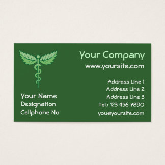 Caduceus with leaves background business card