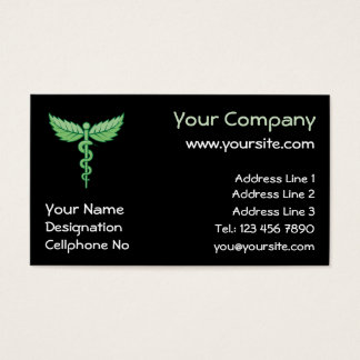 Caduceus with leaves business card